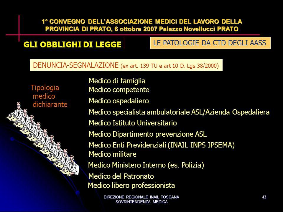 DIREZIONE REGIONALE INAIL TOSCANA SOVRINTENDENZA MEDICA 43 DENUNCIA-SEGNALAZIONE (ex art.