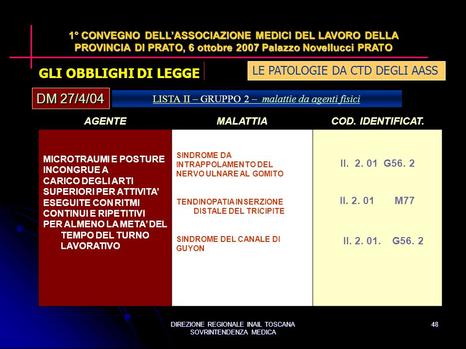 DIREZIONE REGIONALE INAIL TOSCANA SOVRINTENDENZA MEDICA 48 AGENTEMALATTIACOD.