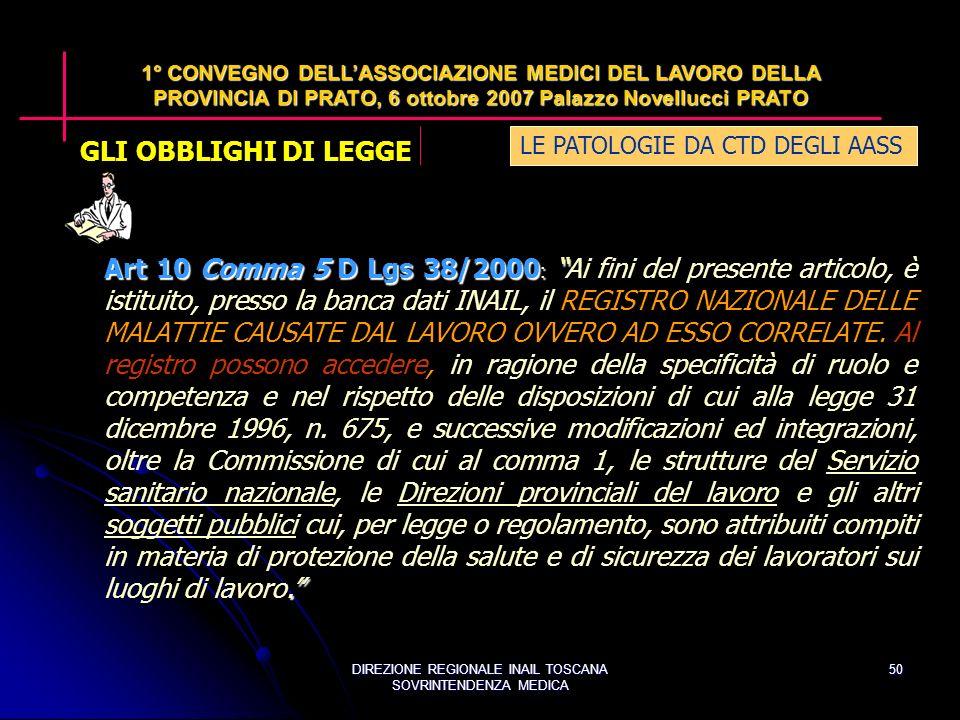 DIREZIONE REGIONALE INAIL TOSCANA SOVRINTENDENZA MEDICA 50 Art 10 Comma 5 D Lgs 38/2000 :.