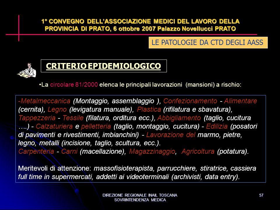 DIREZIONE REGIONALE INAIL TOSCANA SOVRINTENDENZA MEDICA 57 LE PATOLOGIE DA CTD DEGLI AASS 1° CONVEGNO DELLASSOCIAZIONE MEDICI DEL LAVORO DELLA PROVINCIA DI PRATO, 6 ottobre 2007 Palazzo Novellucci PRATO CRITERIO EPIDEMIOLOGICO La circolare 81/2000 elenca le principali lavorazioni (mansioni) a rischio: -Metalmeccanica (Montaggio, assemblaggio ), Confezionamento - Alimentare (cernita), Legno (levigatura manuale), Plastica (rifilatura e sbavatura), Tappezzeria - Tessile (filatura, orditura ecc.), Abbigliamento (taglio, cucitura ….) - Calzaturiera e pelletteria (taglio, montaggio, cucitura) - Edilizia (posatori di pavimenti e rivestimenti, imbianchini) - Lavorazione del marmo, pietre, legno, metalli (incisione, taglio, scultura, ecc.).