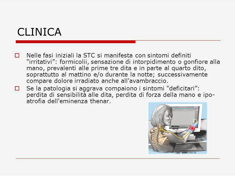CLINICA Nelle fasi iniziali la STC si manifesta con sintomi definiti