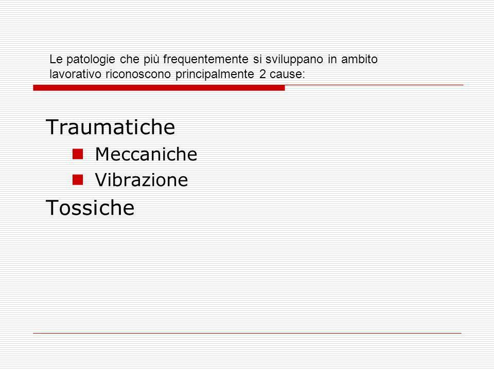 Traumatiche Meccaniche Vibrazione Tossiche Le patologie che più frequentemente si sviluppano in ambito lavorativo riconoscono principalmente 2 cause: