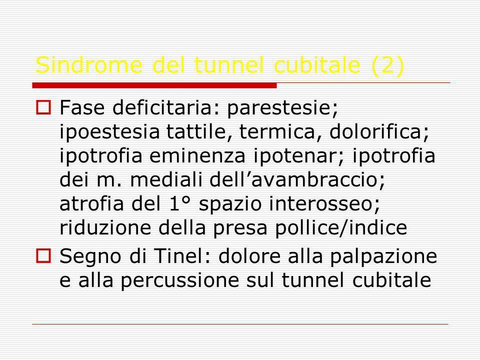 Sindrome del tunnel cubitale (2) Fase deficitaria: parestesie; ipoestesia tattile, termica, dolorifica; ipotrofia eminenza ipotenar; ipotrofia dei m.