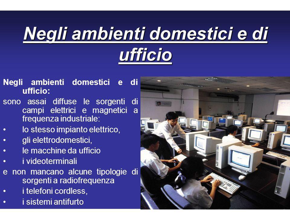 Negli ambienti domestici e di ufficio Negli ambienti domestici e di ufficio: sono assai diffuse le sorgenti di campi elettrici e magnetici a frequenza