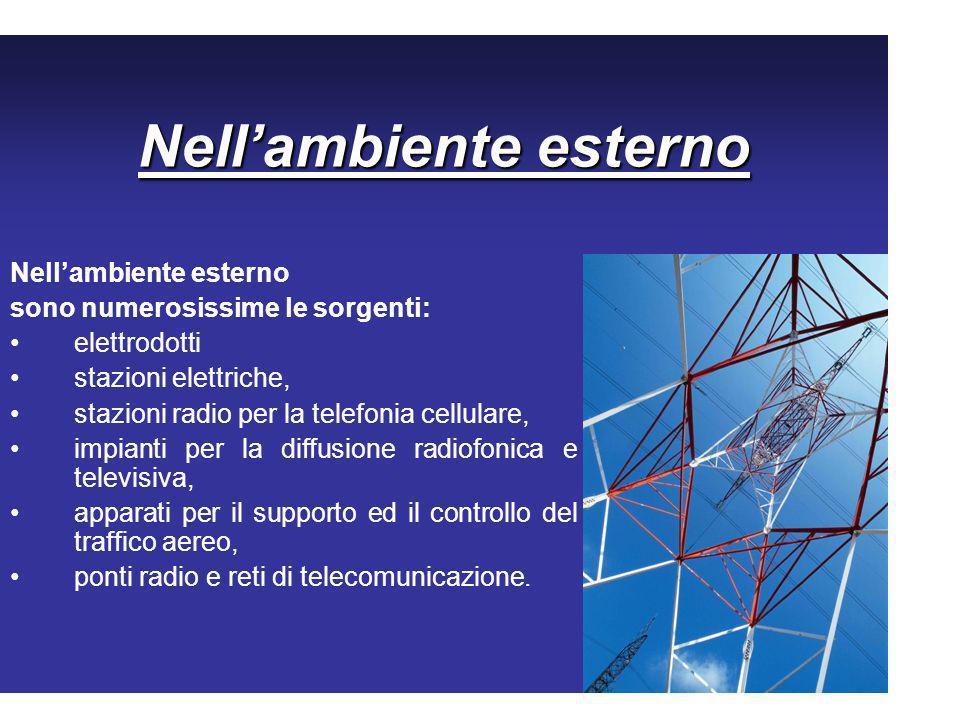 Nellambiente esterno sono numerosissime le sorgenti: elettrodotti stazioni elettriche, stazioni radio per la telefonia cellulare, impianti per la diff