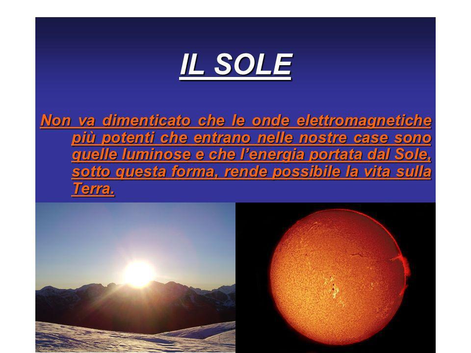 IL SOLE Non va dimenticato che le onde elettromagnetiche più potenti che entrano nelle nostre case sono quelle luminose e che lenergia portata dal Sol