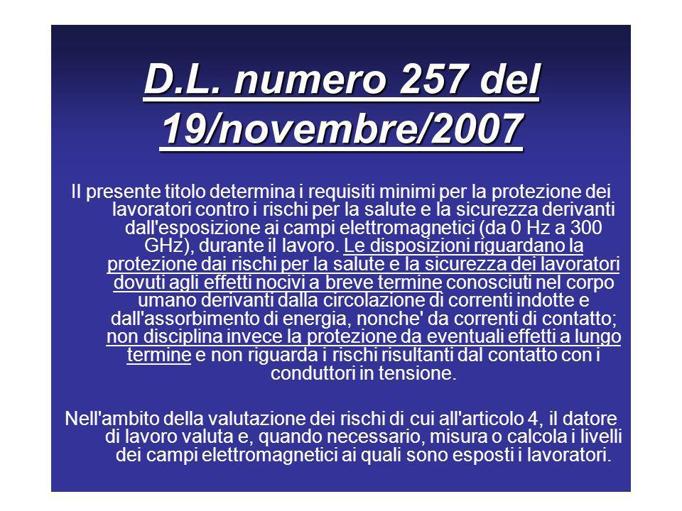 D.L. numero 257 del 19/novembre/2007 Il presente titolo determina i requisiti minimi per la protezione dei lavoratori contro i rischi per la salute e