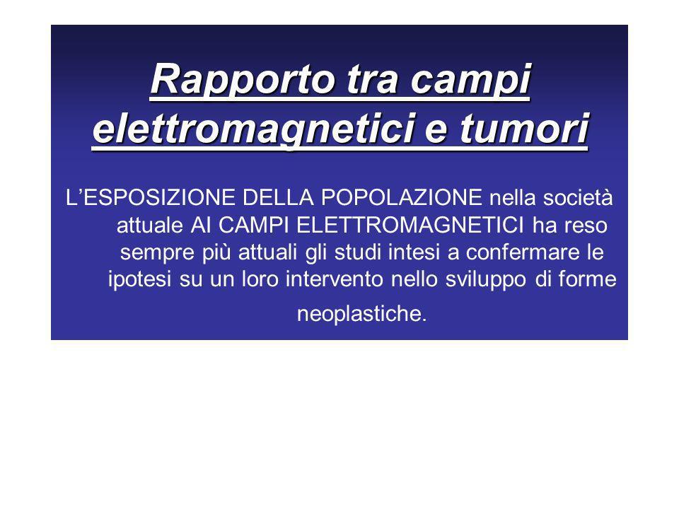 Rapporto tra campi elettromagnetici e tumori LESPOSIZIONE DELLA POPOLAZIONE nella società attuale AI CAMPI ELETTROMAGNETICI ha reso sempre più attuali