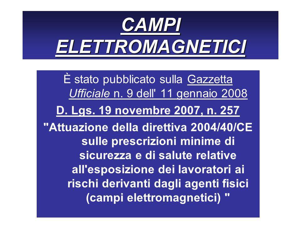 CAMPI ELETTROMAGNETICI È stato pubblicato sulla Gazzetta Ufficiale n. 9 dell' 11 gennaio 2008 D. Lgs. 19 novembre 2007, n. 257