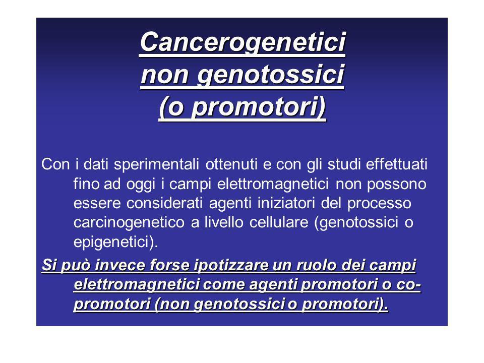 Cancerogenetici non genotossici (o promotori) Con i dati sperimentali ottenuti e con gli studi effettuati fino ad oggi i campi elettromagnetici non po