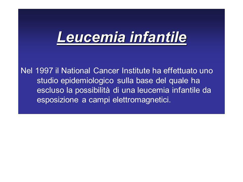 Leucemia infantile Nel 1997 il National Cancer Institute ha effettuato uno studio epidemiologico sulla base del quale ha escluso la possibilità di una