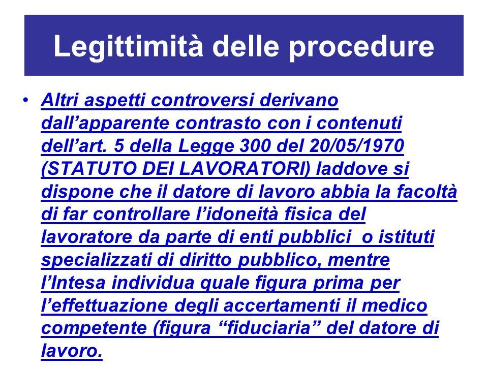 Legittimità delle procedure Altri aspetti controversi derivano dallapparente contrasto con i contenuti dellart. 5 della Legge 300 del 20/05/1970 (STAT