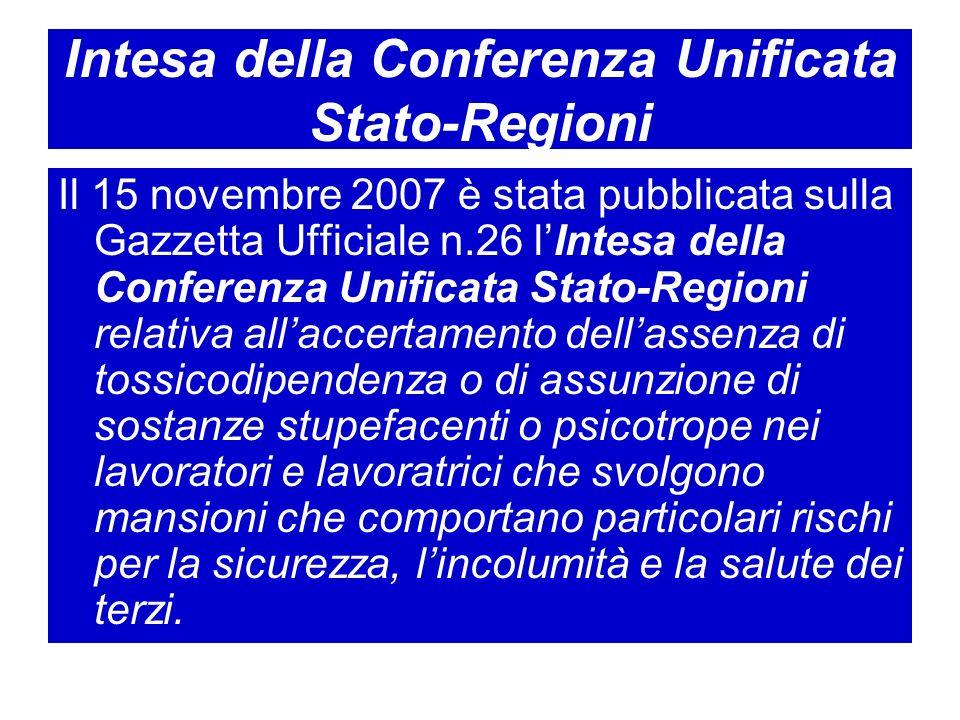 Intesa della Conferenza Unificata Stato-Regioni Il 15 novembre 2007 è stata pubblicata sulla Gazzetta Ufficiale n.26 lIntesa della Conferenza Unificat