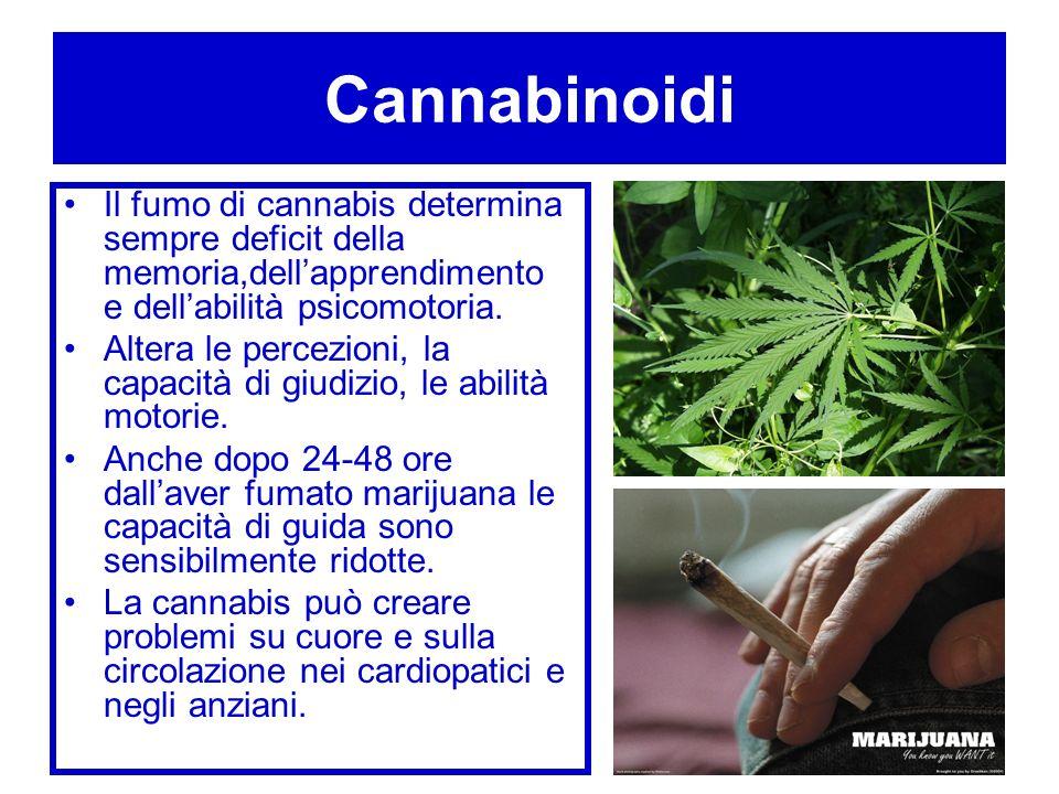 Cannabinoidi Il fumo di cannabis determina sempre deficit della memoria,dellapprendimento e dellabilità psicomotoria. Altera le percezioni, la capacit
