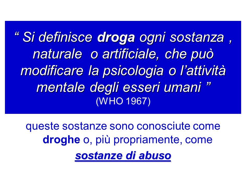 Si definisce droga ogni sostanza, naturale o artificiale, che può modificare la psicologia o lattività mentale degli esseri umani Si definisce droga o