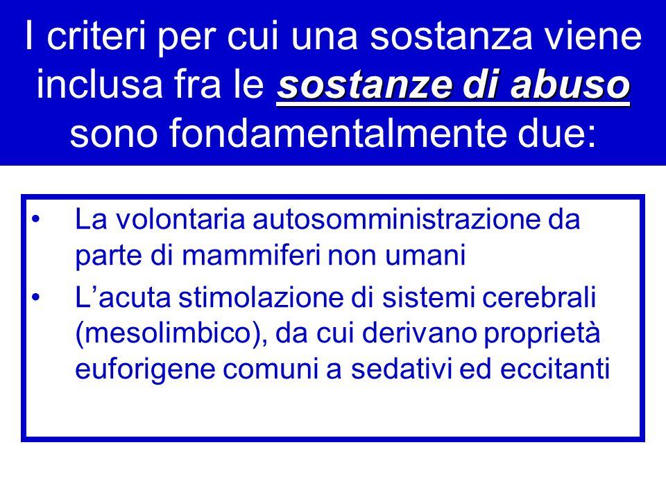 sostanze di abuso I criteri per cui una sostanza viene inclusa fra le sostanze di abuso sono fondamentalmente due: La volontaria autosomministrazione