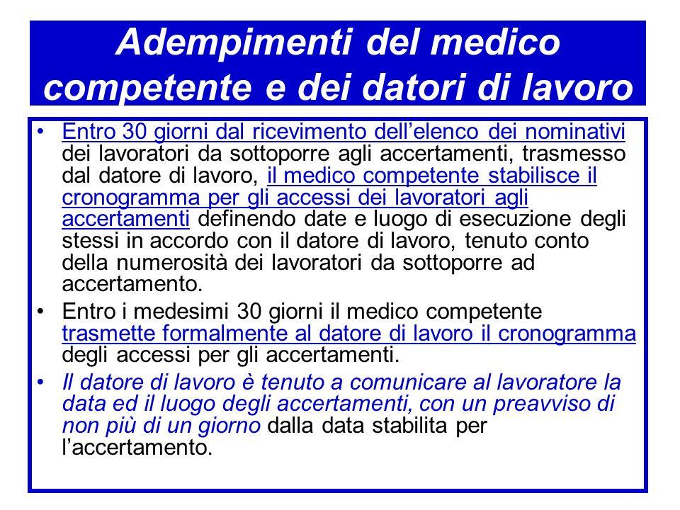 Adempimenti del medico competente e dei datori di lavoro Entro 30 giorni dal ricevimento dellelenco dei nominativi dei lavoratori da sottoporre agli a