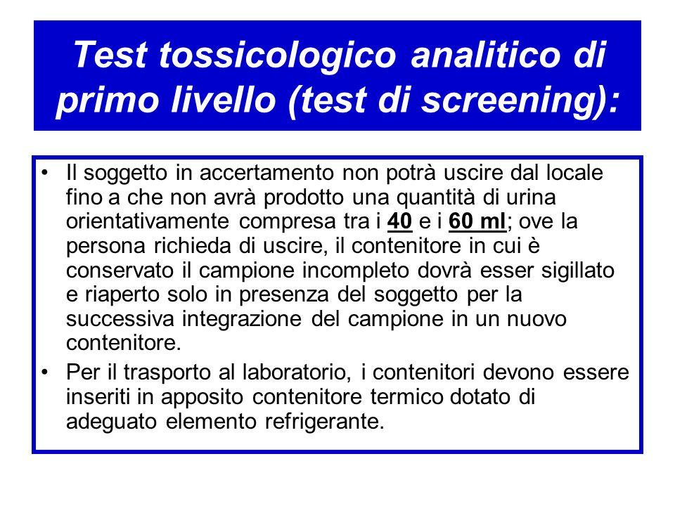 Test tossicologico analitico di primo livello (test di screening): Il soggetto in accertamento non potrà uscire dal locale fino a che non avrà prodott