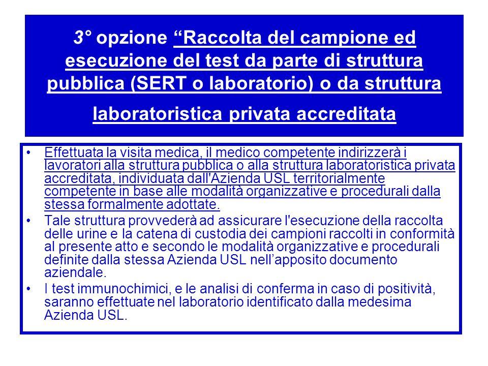 3° opzione Raccolta del campione ed esecuzione del test da parte di struttura pubblica (SERT o laboratorio) o da struttura laboratoristica privata acc