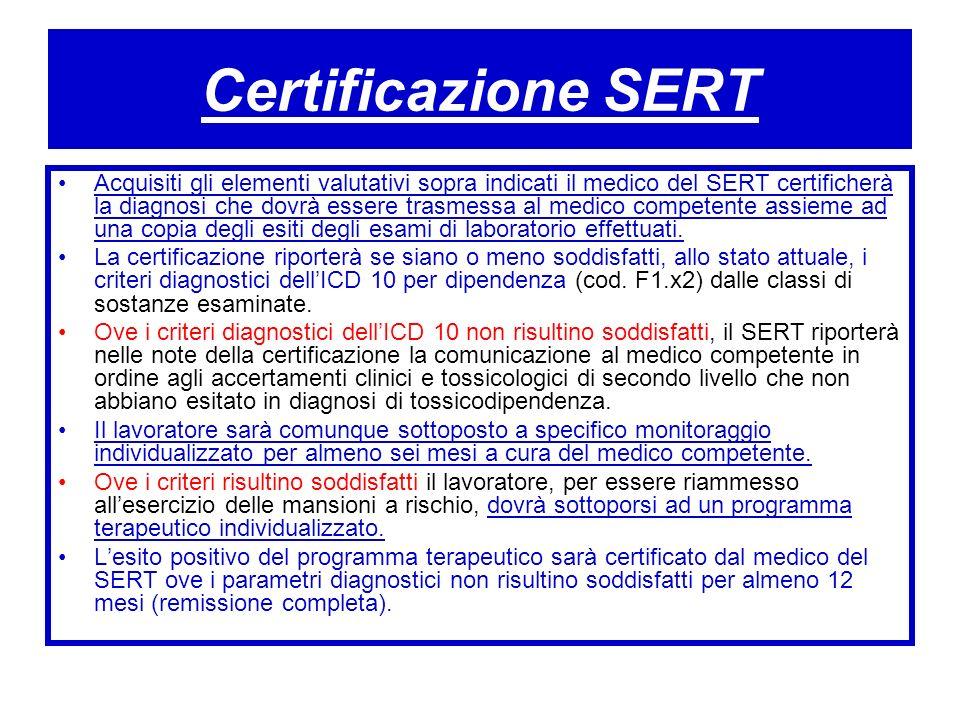Certificazione SERT Acquisiti gli elementi valutativi sopra indicati il medico del SERT certificherà la diagnosi che dovrà essere trasmessa al medico