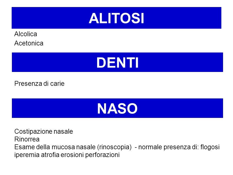 ALITOSI Alcolica Acetonica NASO Costipazione nasale Rinorrea Esame della mucosa nasale (rinoscopia) - normale presenza di: flogosi iperemia atrofia er