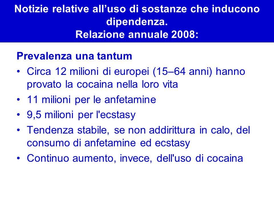 Notizie relative alluso di sostanze che inducono dipendenza. Relazione annuale 2008: Prevalenza una tantum Circa 12 milioni di europei (15–64 anni) ha