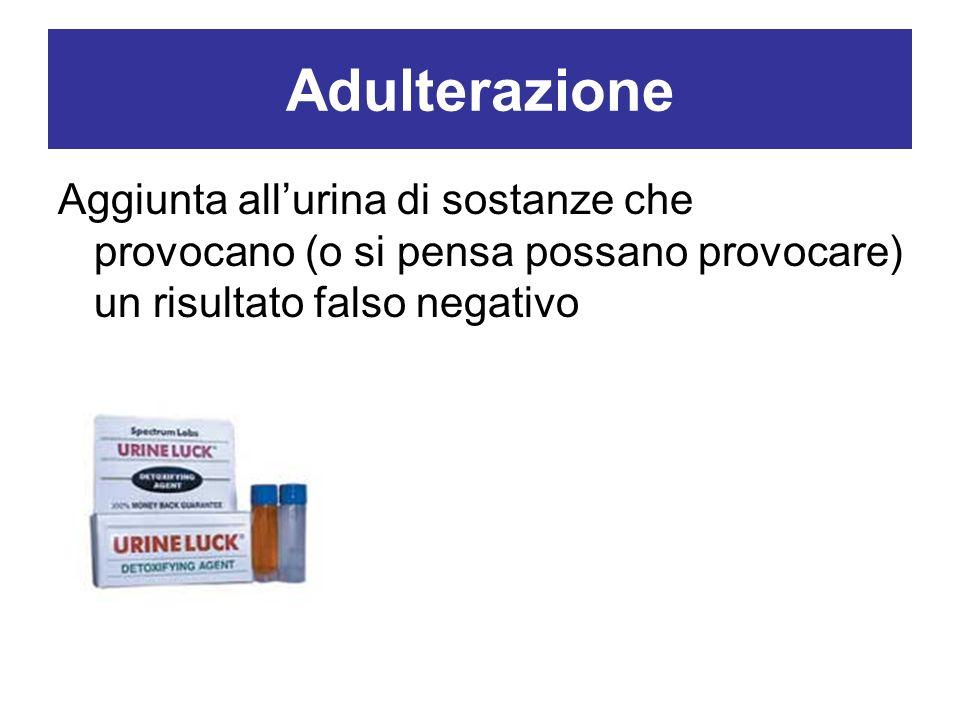 Adulterazione Aggiunta allurina di sostanze che provocano (o si pensa possano provocare) un risultato falso negativo