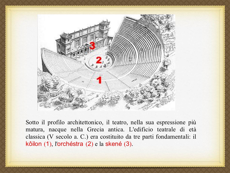 Sotto il profilo architettonico, il teatro, nella sua espressione più matura, nacque nella Grecia antica. L'edificio teatrale di età classica (V secol
