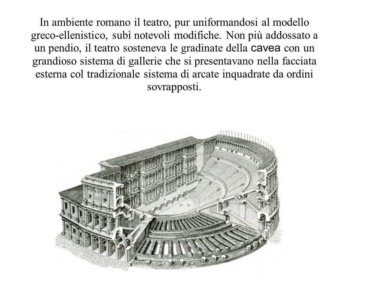 In ambiente romano il teatro, pur uniformandosi al modello greco-ellenistico, subì notevoli modifiche. Non più addossato a un pendio, il teatro sosten