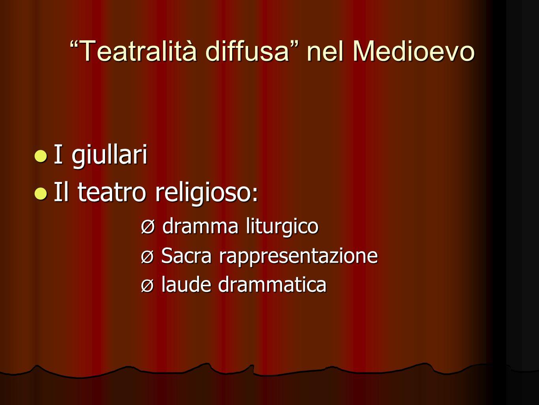 Teatralità diffusa nel Medioevo I giullari I giullari Il teatro religioso : Il teatro religioso : Ø dramma liturgico Ø Sacra rappresentazione Ø laude