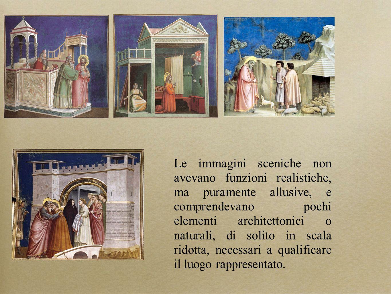 Le immagini sceniche non avevano funzioni realistiche, ma puramente allusive, e comprendevano pochi elementi architettonici o naturali, di solito in s