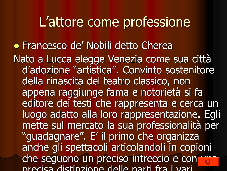 Lattore come professione Francesco de Nobili detto Cherea Francesco de Nobili detto Cherea Nato a Lucca elegge Venezia come sua città dadozione artist