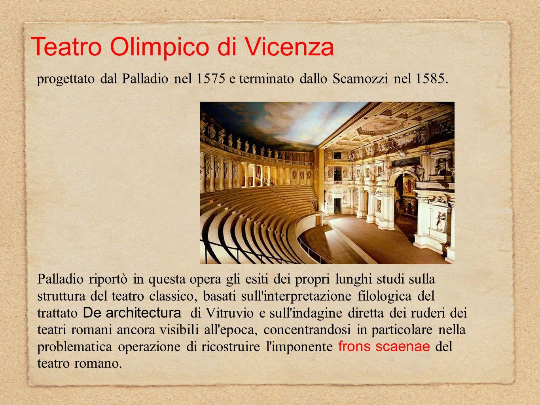 Palladio riportò in questa opera gli esiti dei propri lunghi studi sulla struttura del teatro classico, basati sull'interpretazione filologica del tra