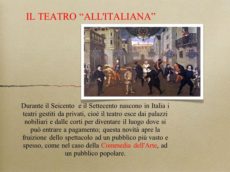 IL TEATRO ALL'ITALIANA Durante il Seicento e il Settecento nascono in Italia i teatri gestiti da privati, cioè il teatro esce dai palazzi nobiliari e