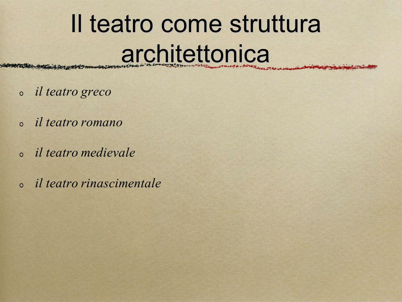 Il teatro come struttura architettonica il teatro greco il teatro romano il teatro medievale il teatro rinascimentale il il teatr