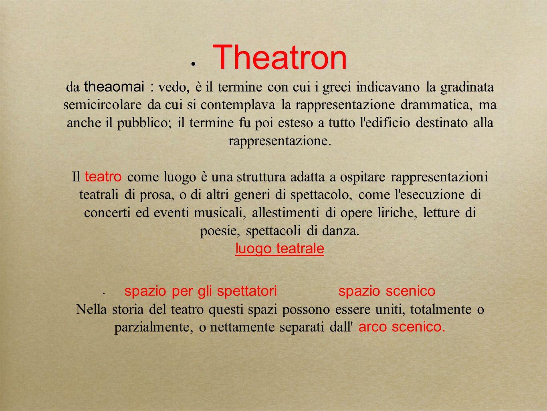 Theatron Theatron da theaomai : vedo, è il termine con cui i greci indicavano la gradinata semicircolare da cui si contemplava la rappresentazione dra