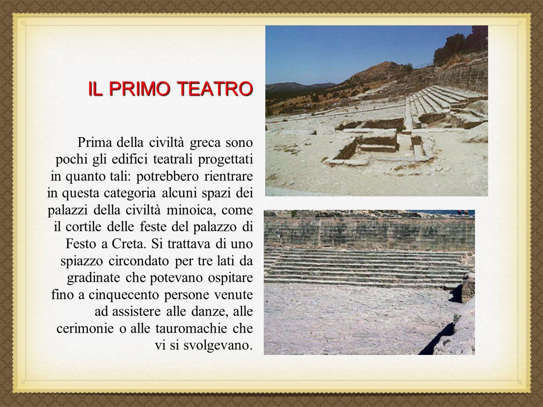 IL PRIMO TEATRO IL PRIMO TEATRO Prima della civiltà greca sono pochi gli edifici teatrali progettati in quanto tali: potrebbero rientrare in questa ca