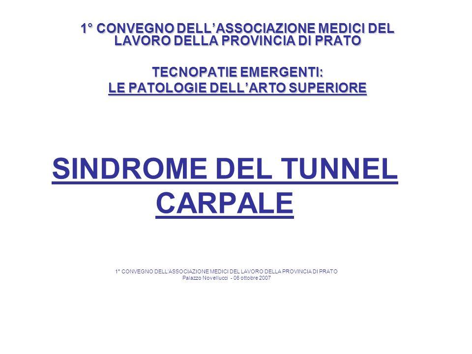 SINDROME DEL TUNNEL CARPALE B) Levoluzione clinica del tunnel carpale dipende nella maggior parte dei casi da accumulo di una certa quantità di fluido nelle guaine tendinee (tenovaginite) e quindi in fase iniziale è passibile di regressione spontanea.