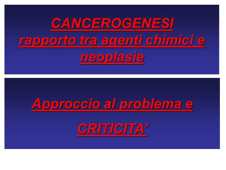 CANCEROGENESI rapporto tra agenti chimici e neoplasie Approccio al problema e CRITICITA