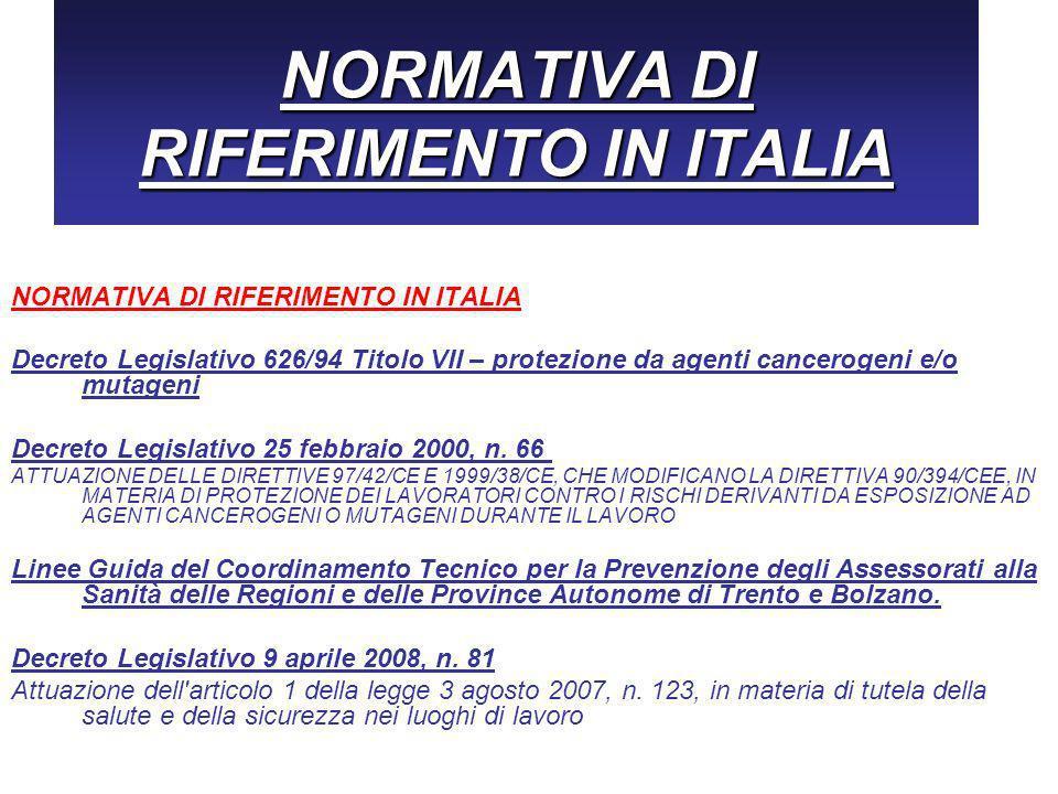NORMATIVA DI RIFERIMENTO IN ITALIA Decreto Legislativo 626/94 Titolo VII – protezione da agenti cancerogeni e/o mutageni Decreto Legislativo 25 febbraio 2000, n.