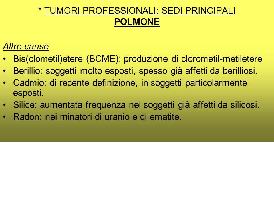 * TUMORI PROFESSIONALI: SEDI PRINCIPALI POLMONE Altre cause Bis(clometil)etere (BCME): produzione di clorometil-metiletere Berillio: soggetti molto esposti, spesso già affetti da berilliosi.