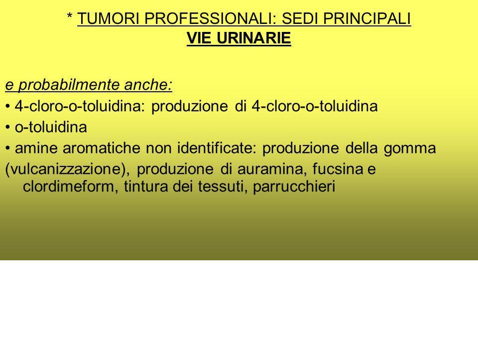 * TUMORI PROFESSIONALI: SEDI PRINCIPALI VIE URINARIE e probabilmente anche: 4-cloro-o-toluidina: produzione di 4-cloro-o-toluidina o-toluidina amine aromatiche non identificate: produzione della gomma (vulcanizzazione), produzione di auramina, fucsina e clordimeform, tintura dei tessuti, parrucchieri