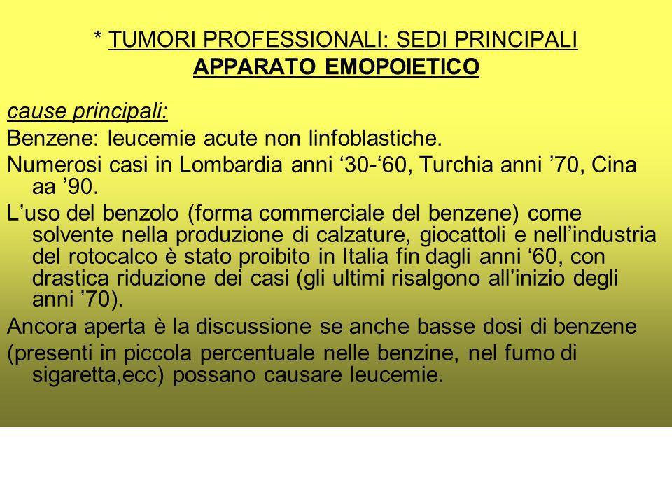 * TUMORI PROFESSIONALI: SEDI PRINCIPALI APPARATO EMOPOIETICO cause principali: Benzene: leucemie acute non linfoblastiche.