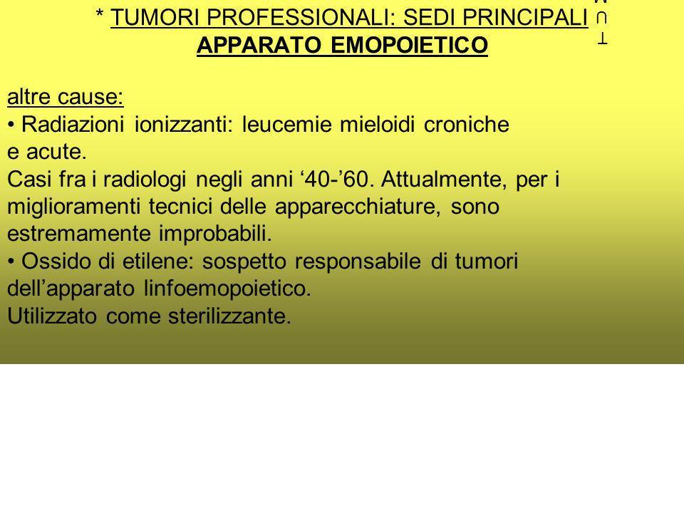 * TUMORI PROFESSIONALI: SEDI PRINCIPALI APPARATO EMOPOIETICO altre cause: Radiazioni ionizzanti: leucemie mieloidi croniche e acute.