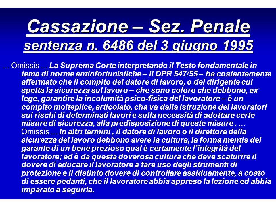Cassazione – Sez.Penale sentenza n. 6486 del 3 giugno 1995...