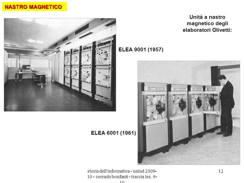 storia dell'informatica - uniud 2009- 10 - corrado bonfanti - traccia lez. 9- 10 12 Unità a nastro magnetico degli elaboratori Olivetti: ELEA 9001 (19