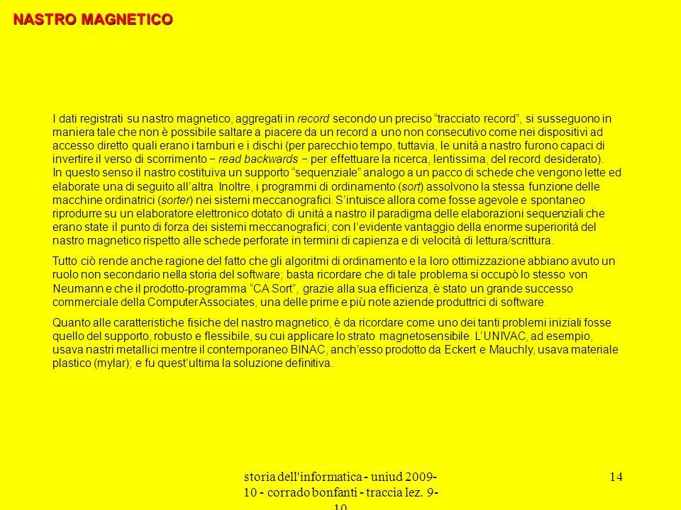 storia dell'informatica - uniud 2009- 10 - corrado bonfanti - traccia lez. 9- 10 14 I dati registrati su nastro magnetico, aggregati in record secondo