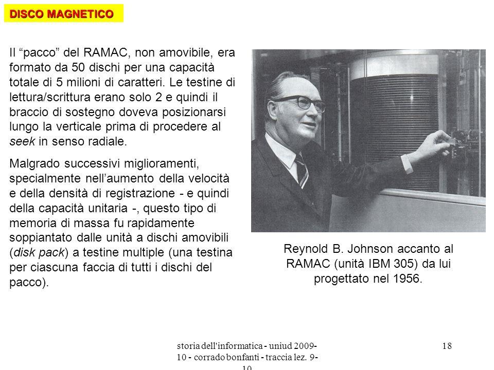 storia dell'informatica - uniud 2009- 10 - corrado bonfanti - traccia lez. 9- 10 18 Il pacco del RAMAC, non amovibile, era formato da 50 dischi per un