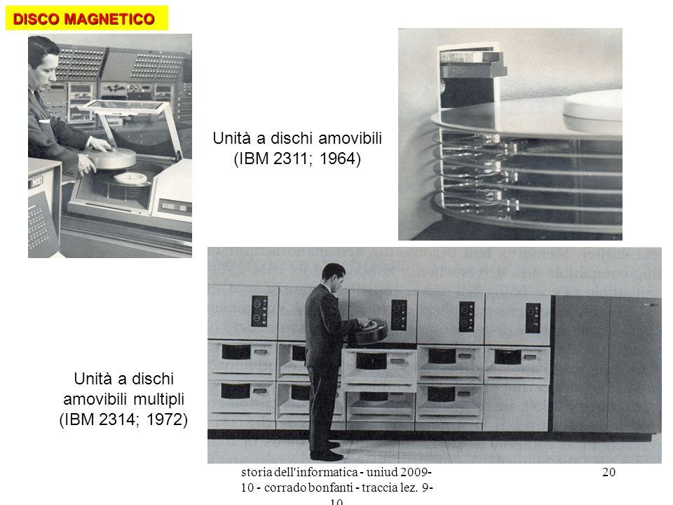 storia dell'informatica - uniud 2009- 10 - corrado bonfanti - traccia lez. 9- 10 20 Unità a dischi amovibili (IBM 2311; 1964) Unità a dischi amovibili