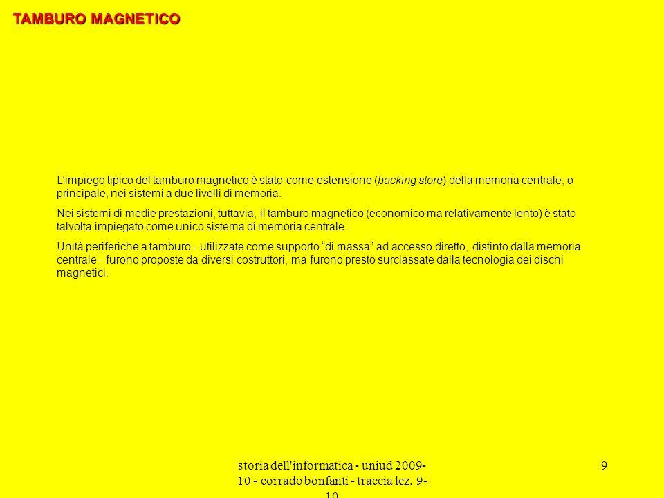 storia dell'informatica - uniud 2009- 10 - corrado bonfanti - traccia lez. 9- 10 9 Limpiego tipico del tamburo magnetico è stato come estensione (back